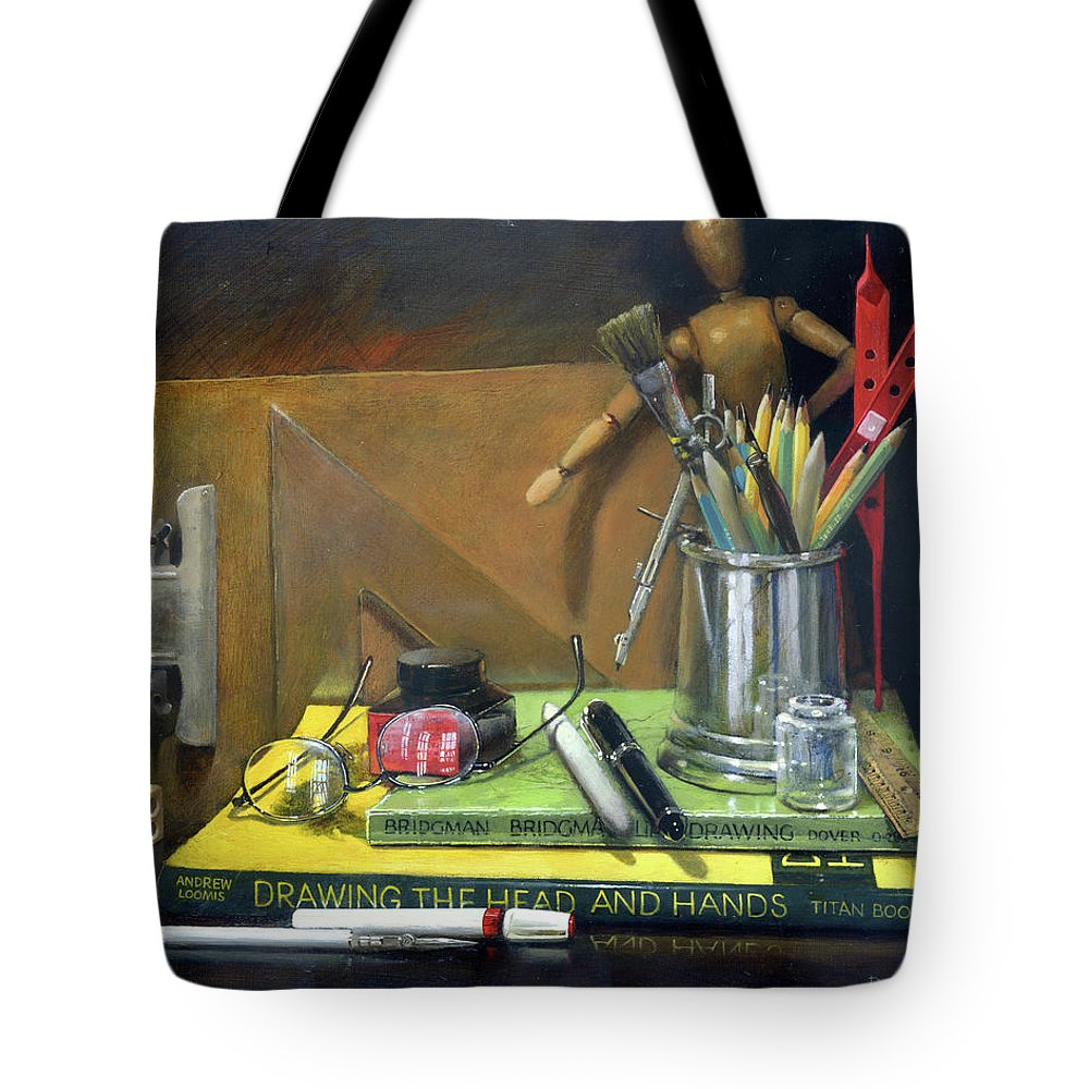 Still Life. Realistic Still Life. Photo Realistic Still Life. Photorealistic Still Life. Drawing Tools. Art Tools. Dan Nelson. Still Life Oil Painting. Realistic Still Life Oil Painting. Photo Realistic Still Life Oil Painting. Photorealistic Still Life Oil Painting. Drawing Tools Oil Painting. Art Tools Oil Painting. Dan Nelson Oil Painting. Tote Bag featuring the painting Learn How To Draw by Dan Nelson