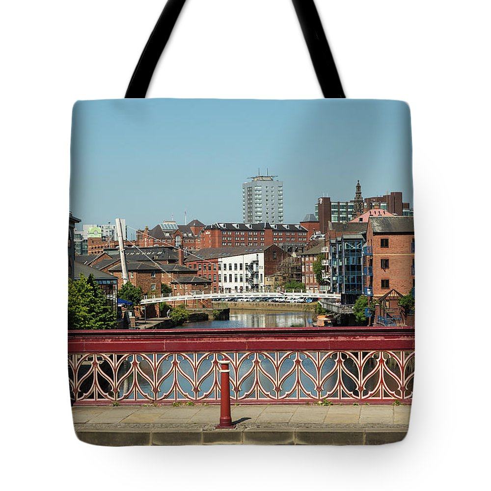 English Culture Tote Bag featuring the photograph Leeds Waterfront Developments by P A Thompson