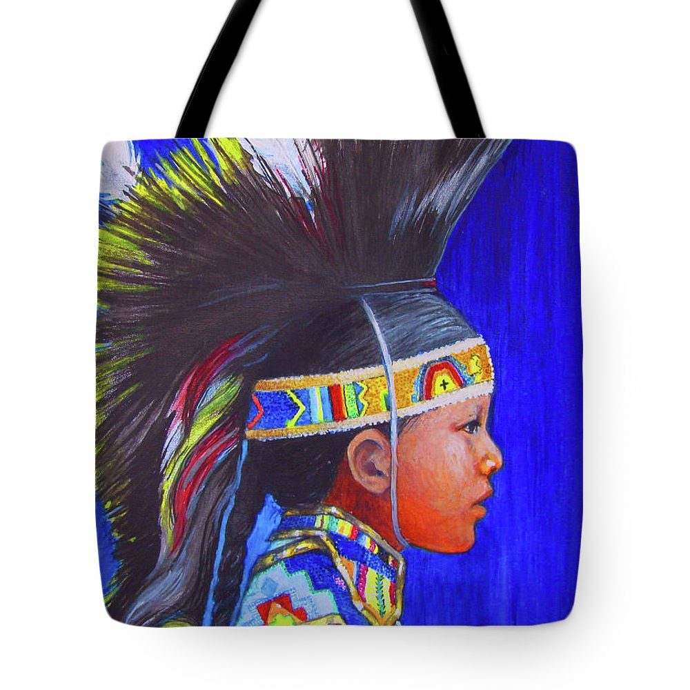 Native American Boy Tote Bag featuring the painting Legacy by Tanja Ware