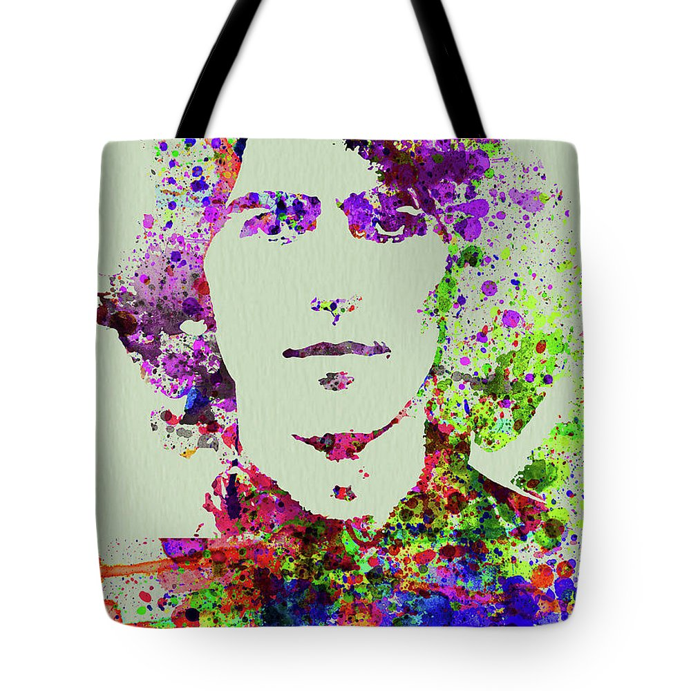 Beatles Tote Bag featuring the mixed media Legendary George Harrison Watercolor II by Naxart Studio