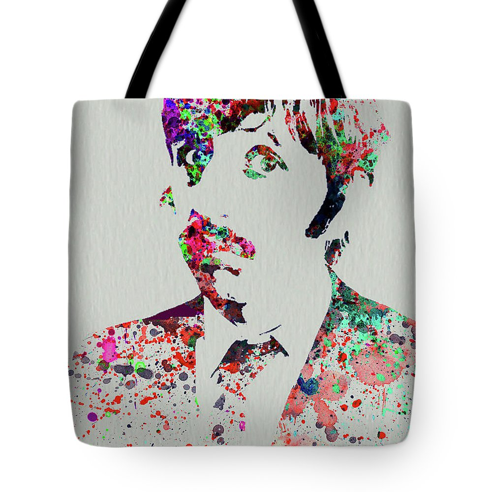 Beatles Tote Bag featuring the mixed media Legendary George Harrison Watercolor III by Naxart Studio
