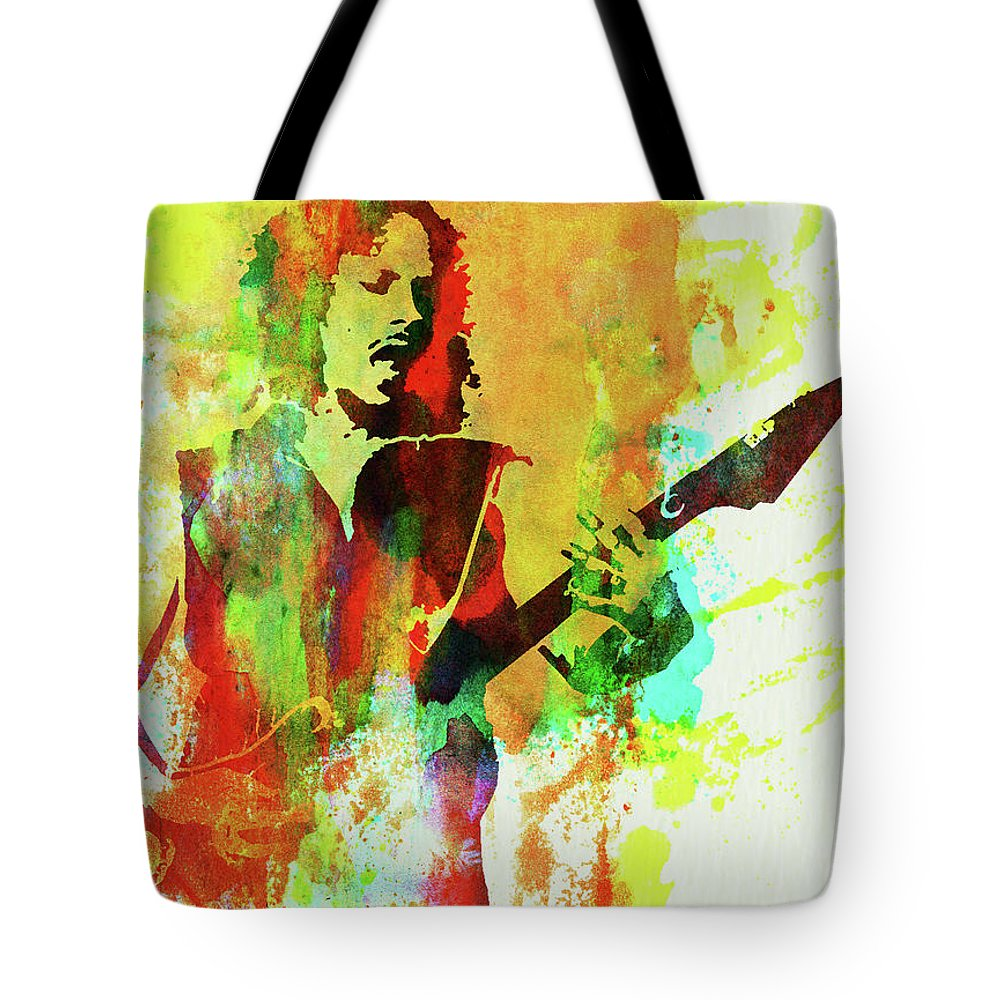 Kirk Hammett Tote Bag featuring the mixed media Legendary Kirk Hammett Watercolor by Naxart Studio