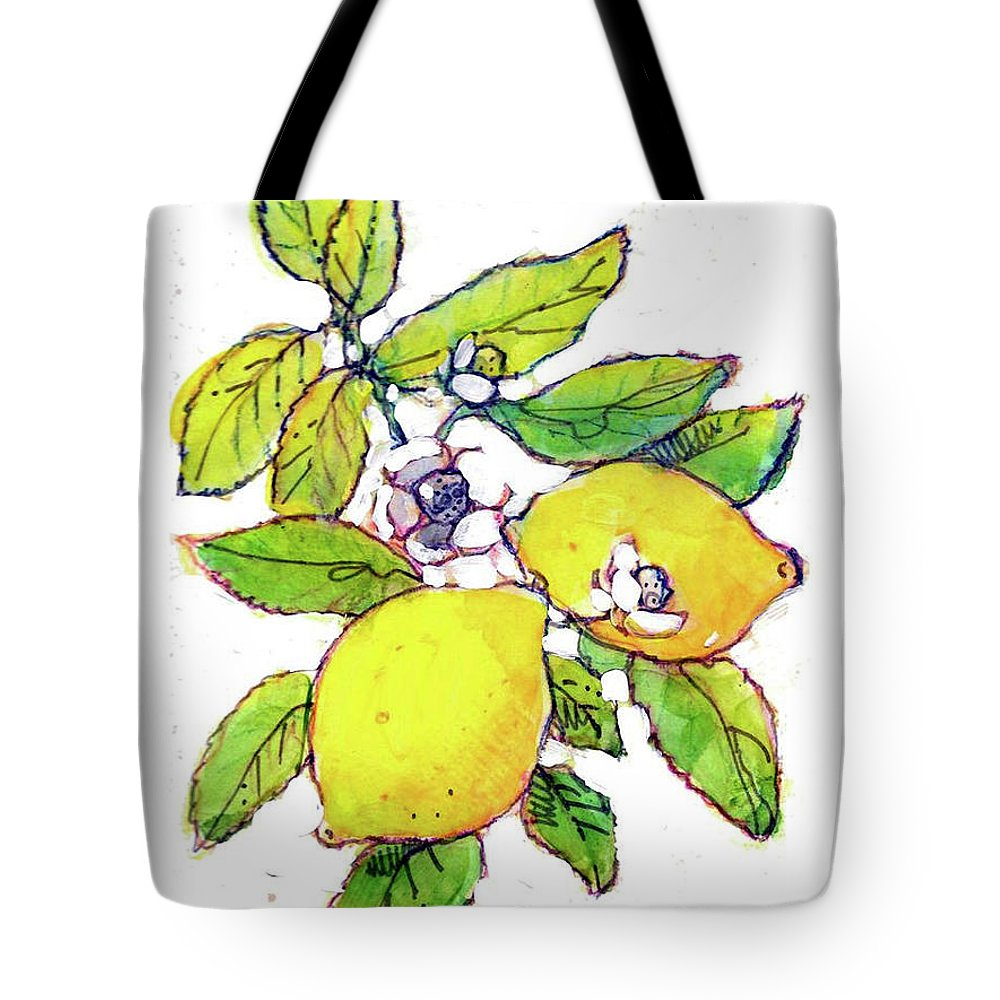 Fruit Watercolor. Fruits Illustration. Fruit Illustration. Fruits Illustrations. Lemons Watercolor. Tote Bag featuring the painting Lemons by Dan Nelson