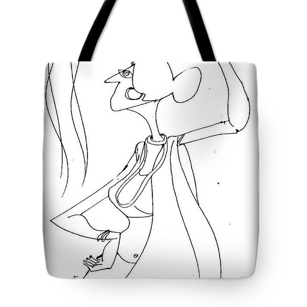 Pen Work On Paper Tote Bag featuring the drawing Let Me Think by Mustafa Attari