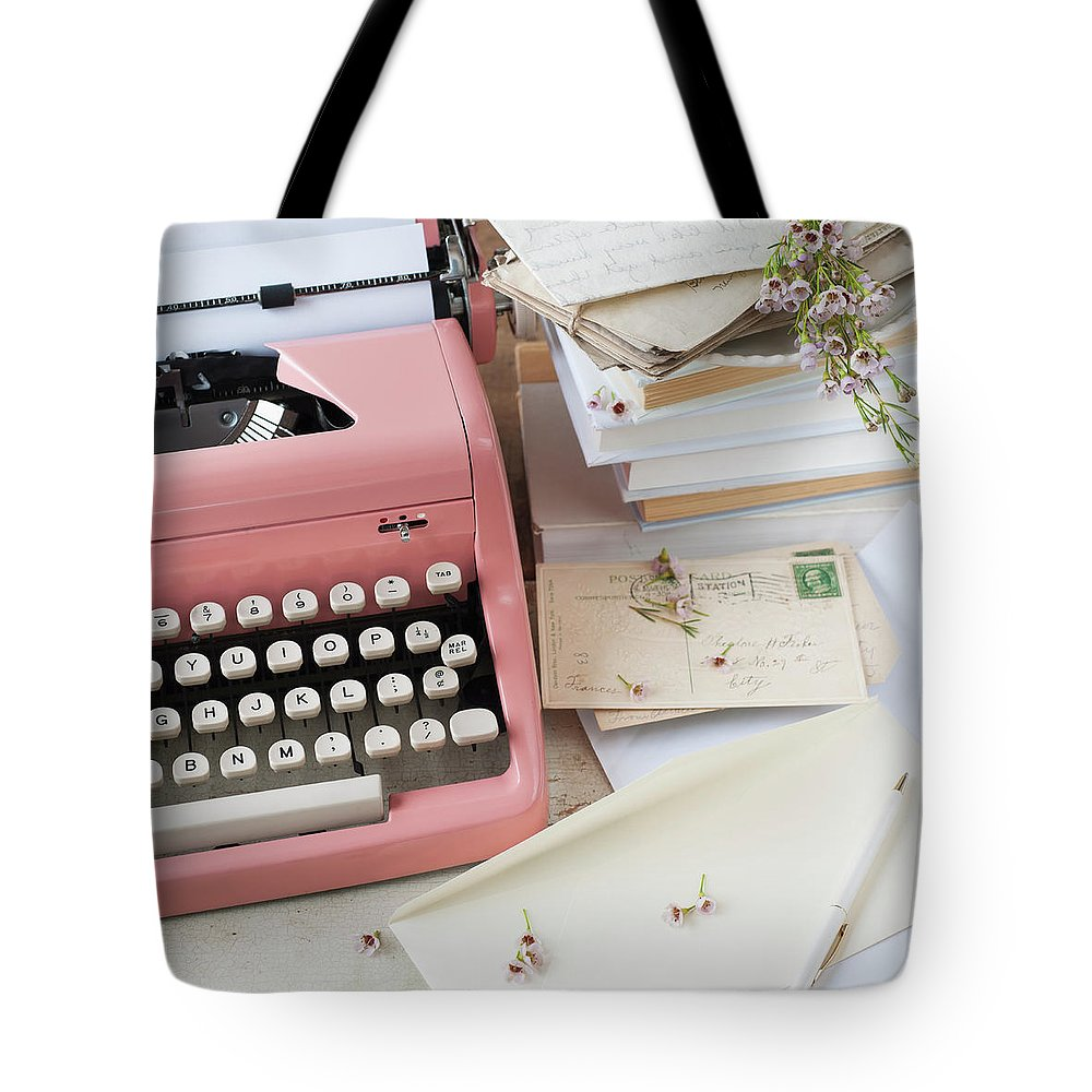 Office Tote Bag featuring the photograph Letters By Antique Typewriter by Tetra Images