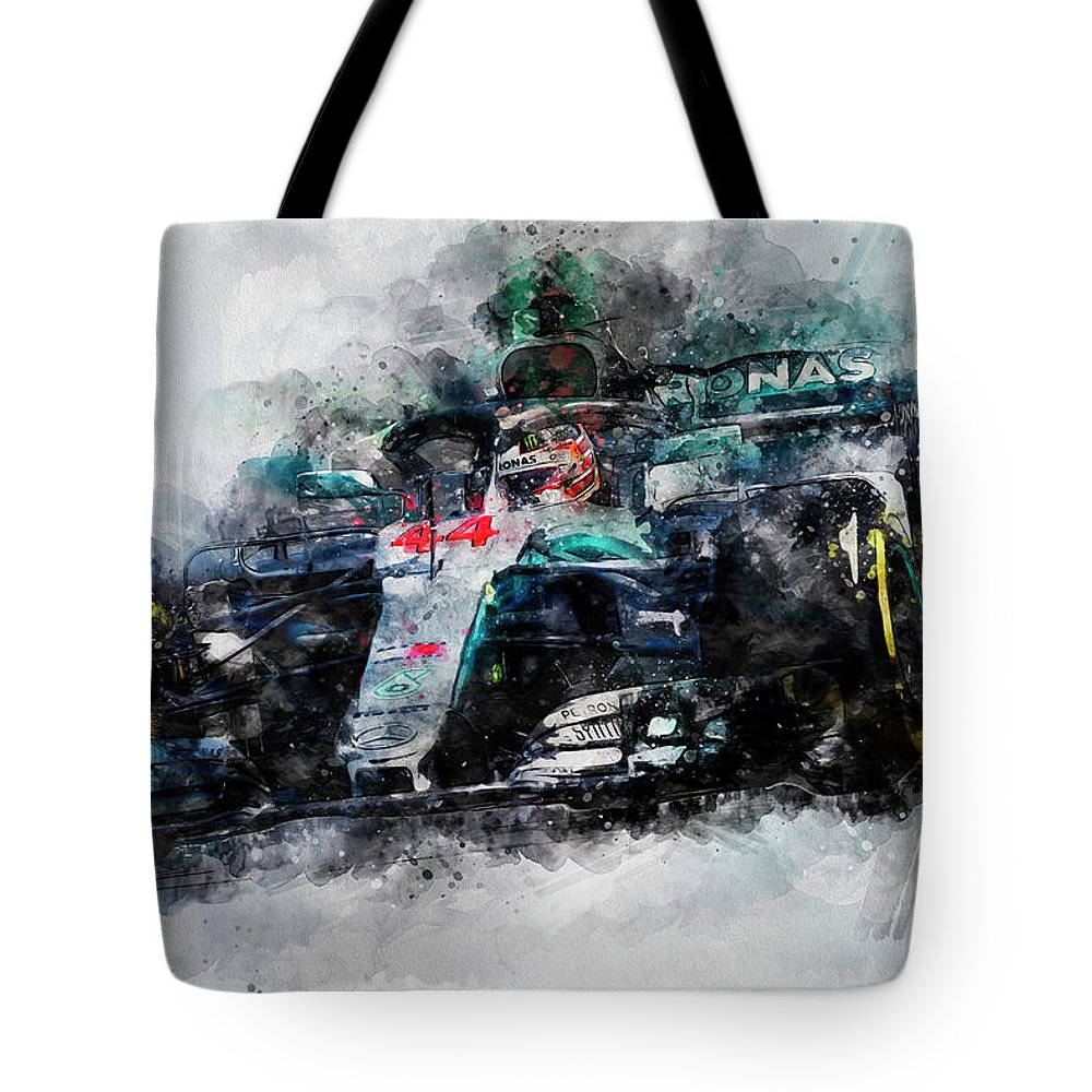 Lewis Tote Bag featuring the painting Lewis Hamilton, Mercedes Amg F1 W09 - 10 by Andrea Mazzocchetti