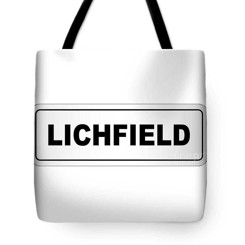 Lichfield Tote Bag featuring the digital art Lichfield City Nameplate by Bigalbaloo Stock