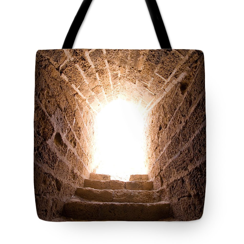 Steps Tote Bag featuring the photograph Light At End Of The Tunnel by Kreicher