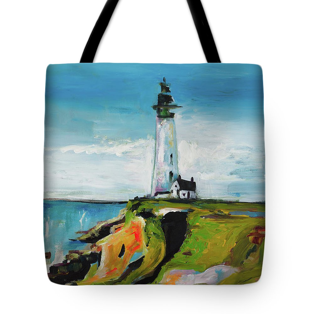 Lighthouse Tote Bag featuring the painting Lighthouse On A Cliff by Andy Beauchamp