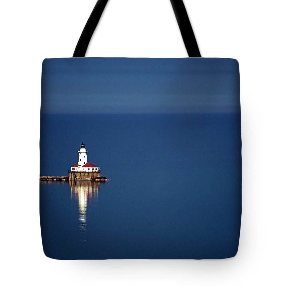 Outdoors Tote Bag featuring the photograph Lighthouse On A Lake by By Ken Ilio