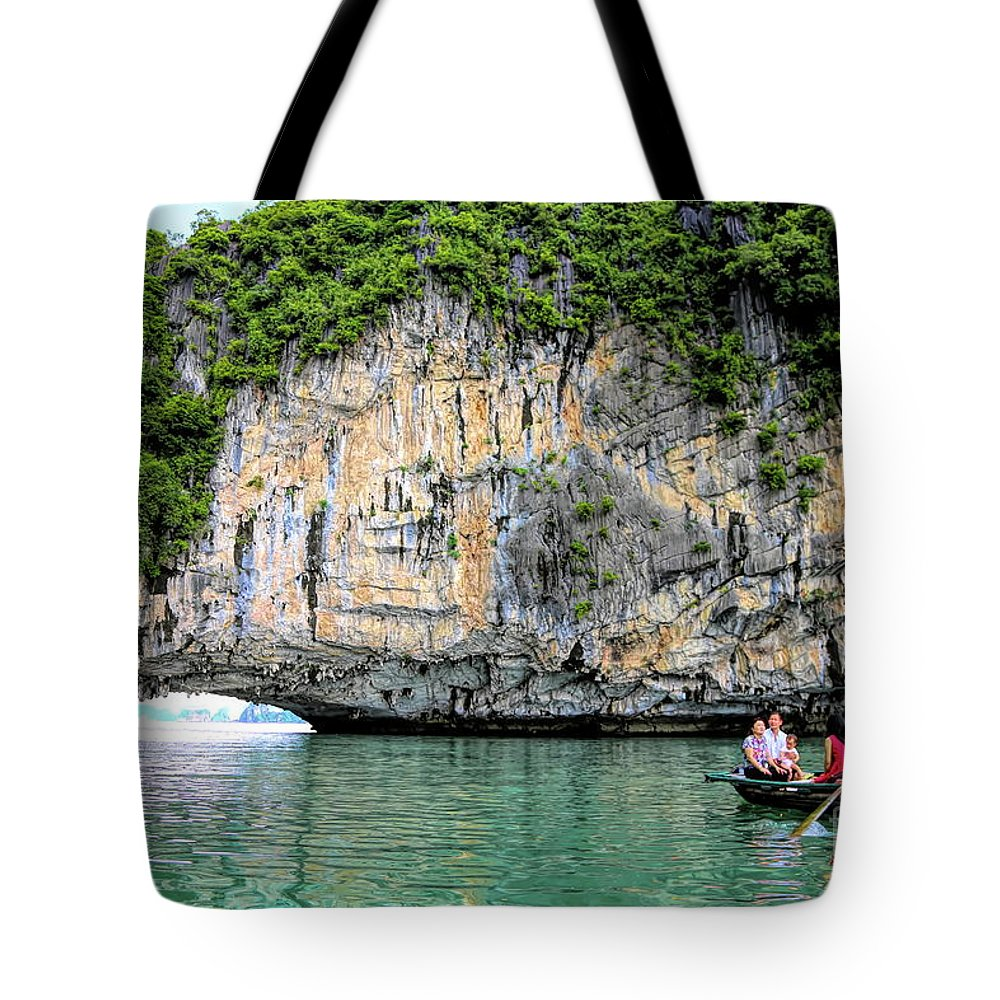 Vietnam Tote Bag featuring the photograph Limestone Arch Ha Long Bay Vietnam by Chuck Kuhn