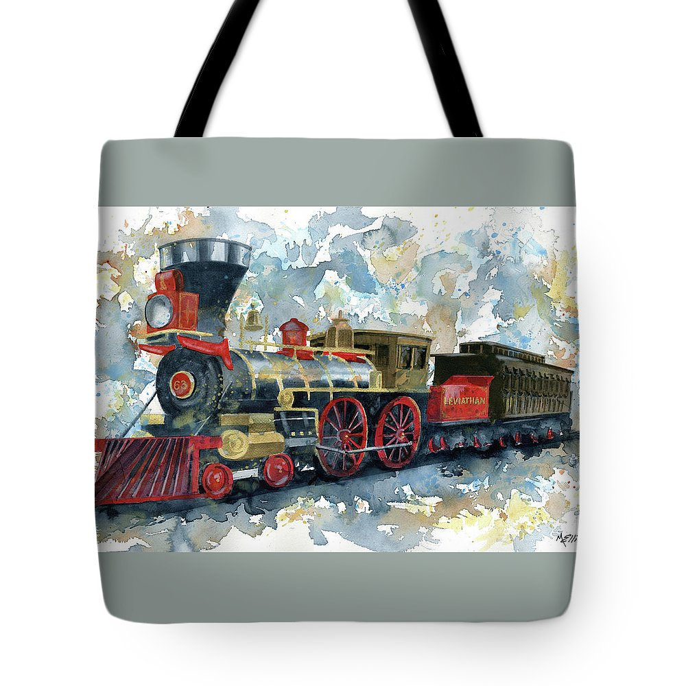 Train Tote Bag featuring the painting Lincoln Funeral Train by Marsha Elliott