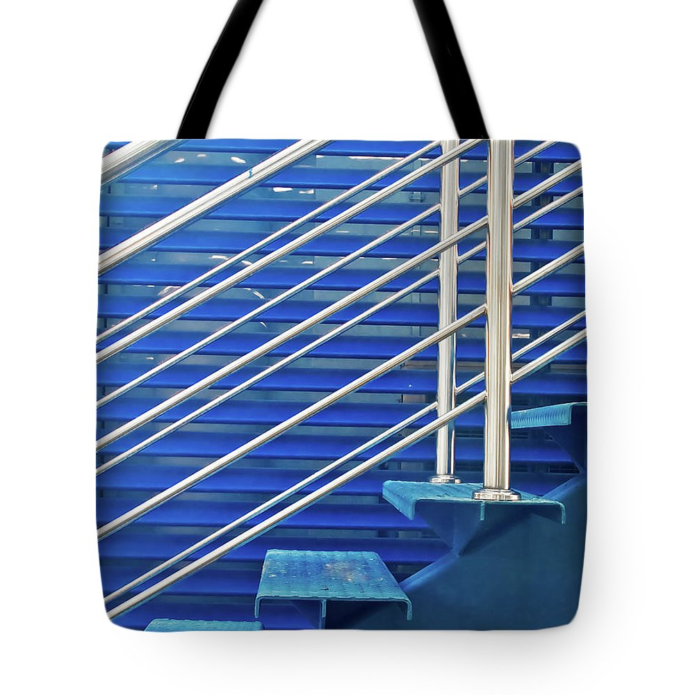 Staircase Tote Bag featuring the photograph Lines On Blues by Jordi Angrill