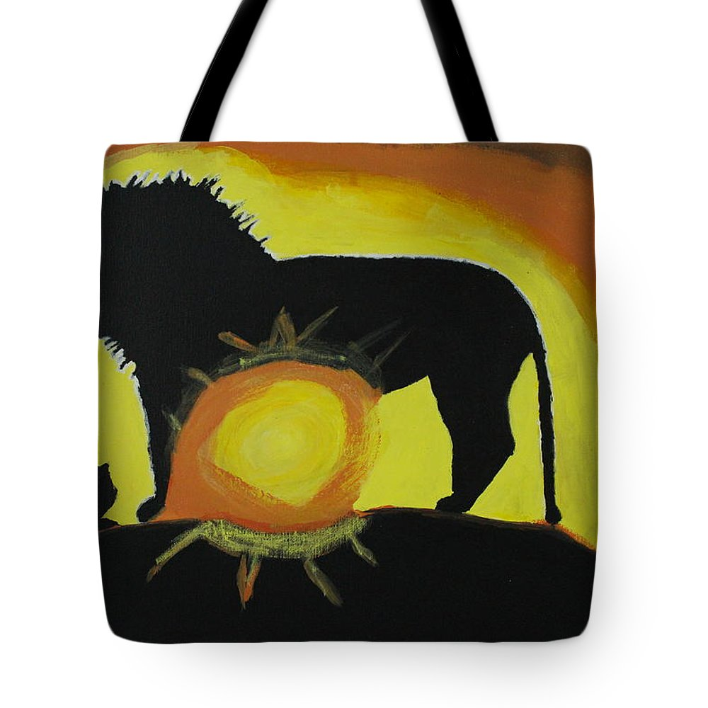 Lion Tote Bag featuring the painting Lion Heart by Sonye Locksmith