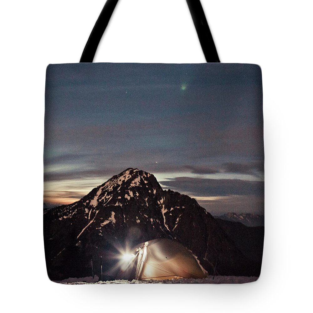 Camping Tote Bag featuring the photograph Lit Tent At Night by Christopher Kimmel