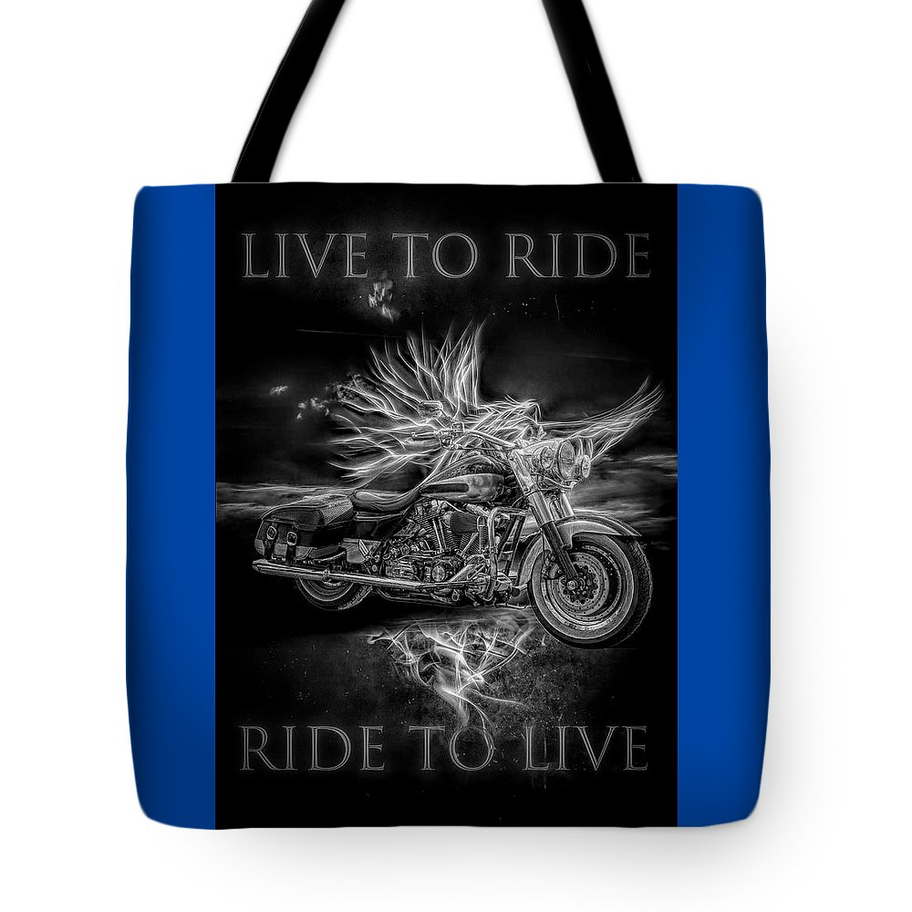Indian Tote Bag featuring the digital art Live To Ride, Ride To Live Black And White by Debra and Dave Vanderlaan