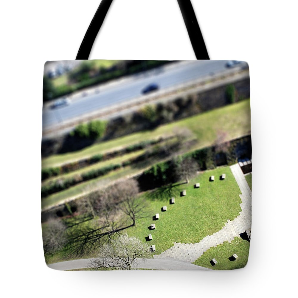 England Tote Bag featuring the photograph Liverpool From Above, Tilt-shift Lens by Ilbusca