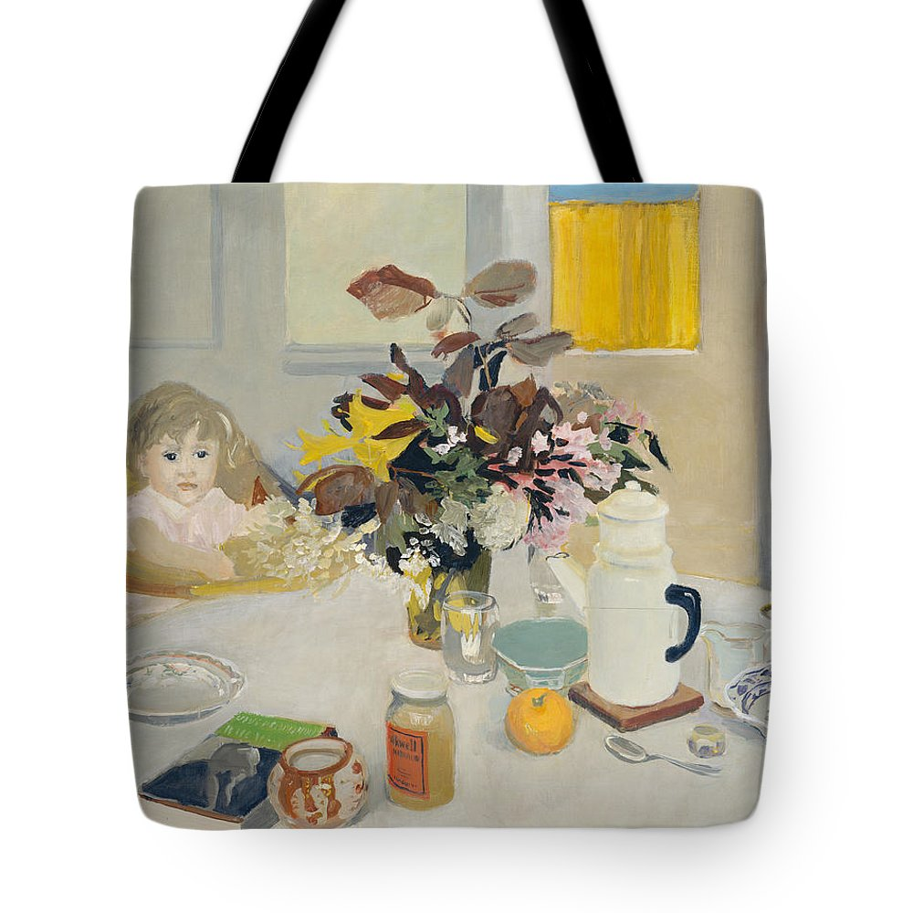 Fairfield Porter Tote Bag featuring the painting Lizzie At The Table by Fairfield Porter