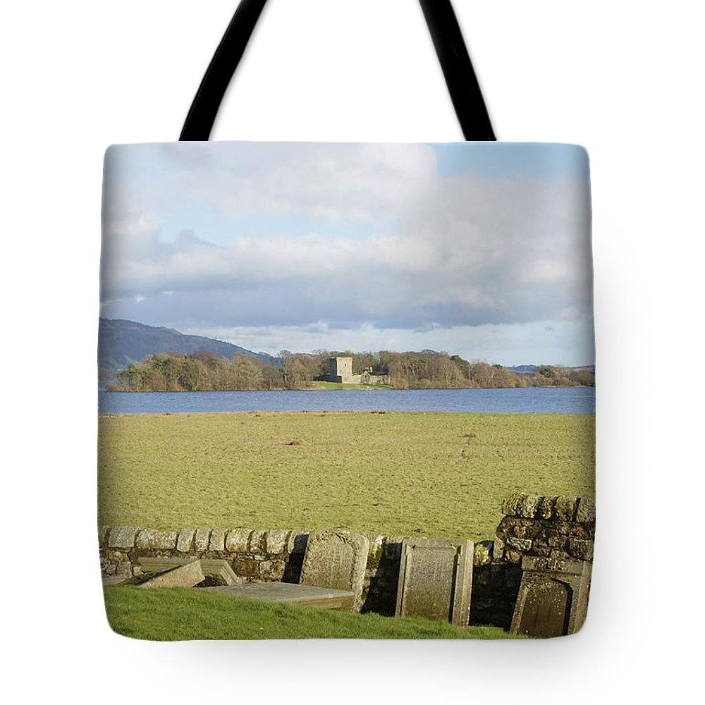 Castle Tote Bag featuring the photograph Loch Leven Castle From Kinross by Victor Lord Denovan