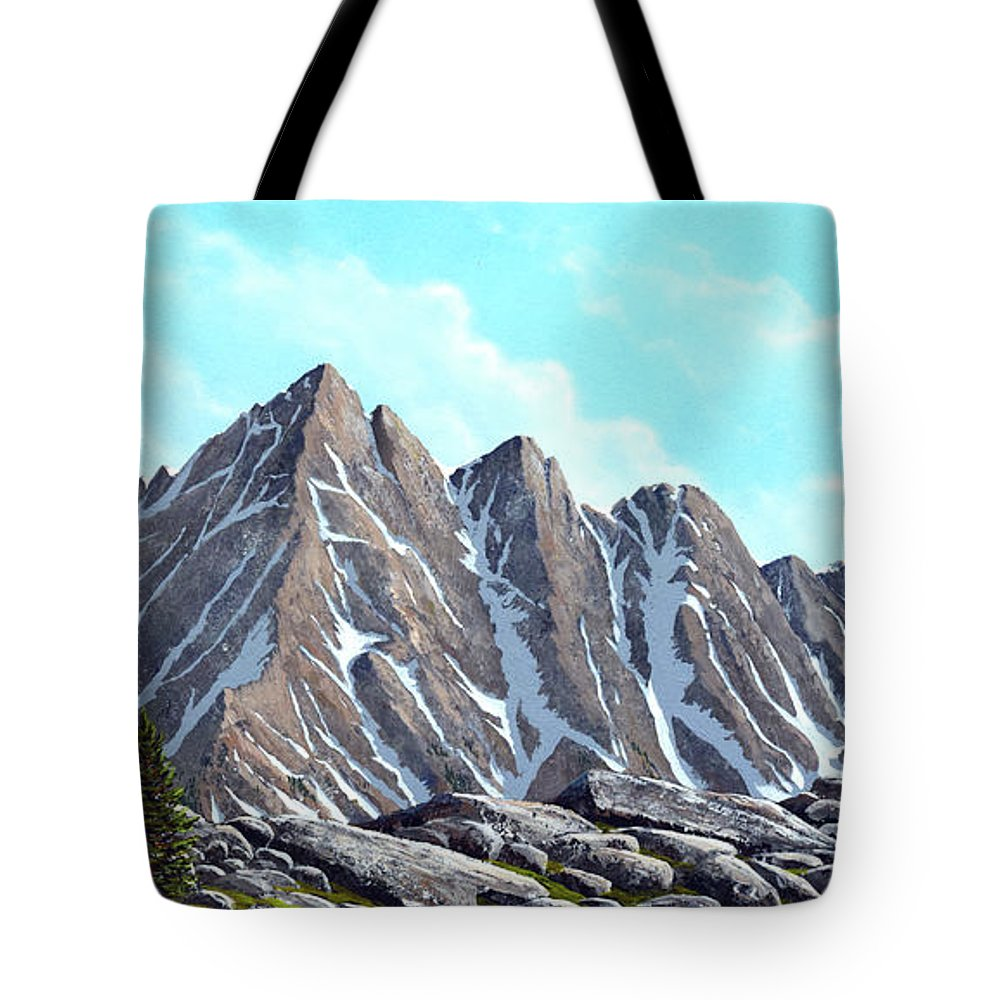 Landscape Tote Bag featuring the painting Lofty Peaks by Frank Wilson
