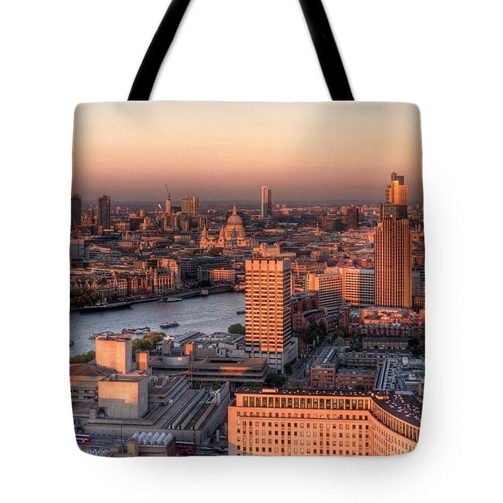 Cityscape Tote Bag featuring the photograph London Cityscape At Sunset by Michael Lee