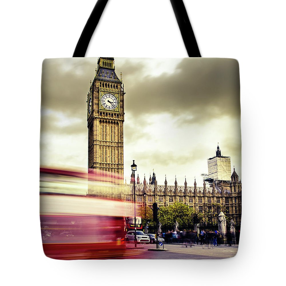 Clock Tower Tote Bag featuring the photograph London Double Decker Bus Near Big Ben by Filippobacci