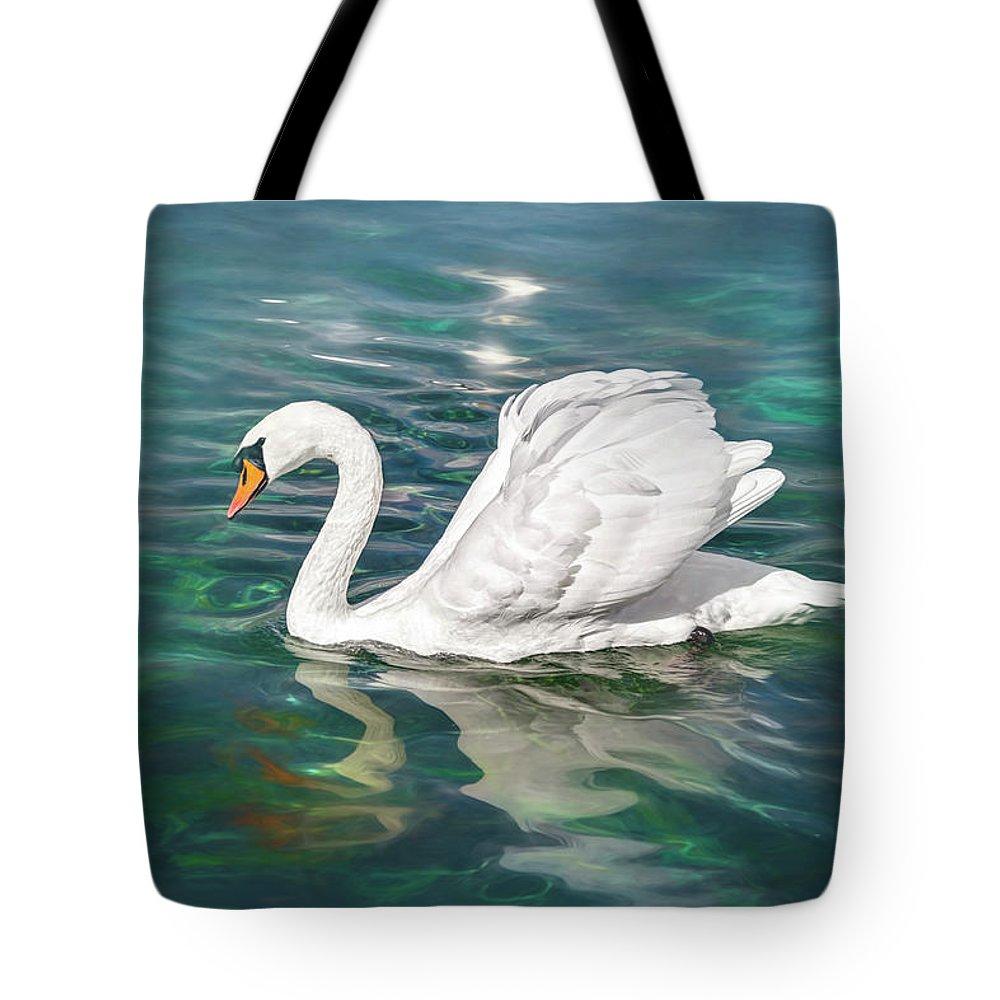 Swan Tote Bag featuring the photograph Lone Swan Lake Geneva Switzerland by Carol Japp