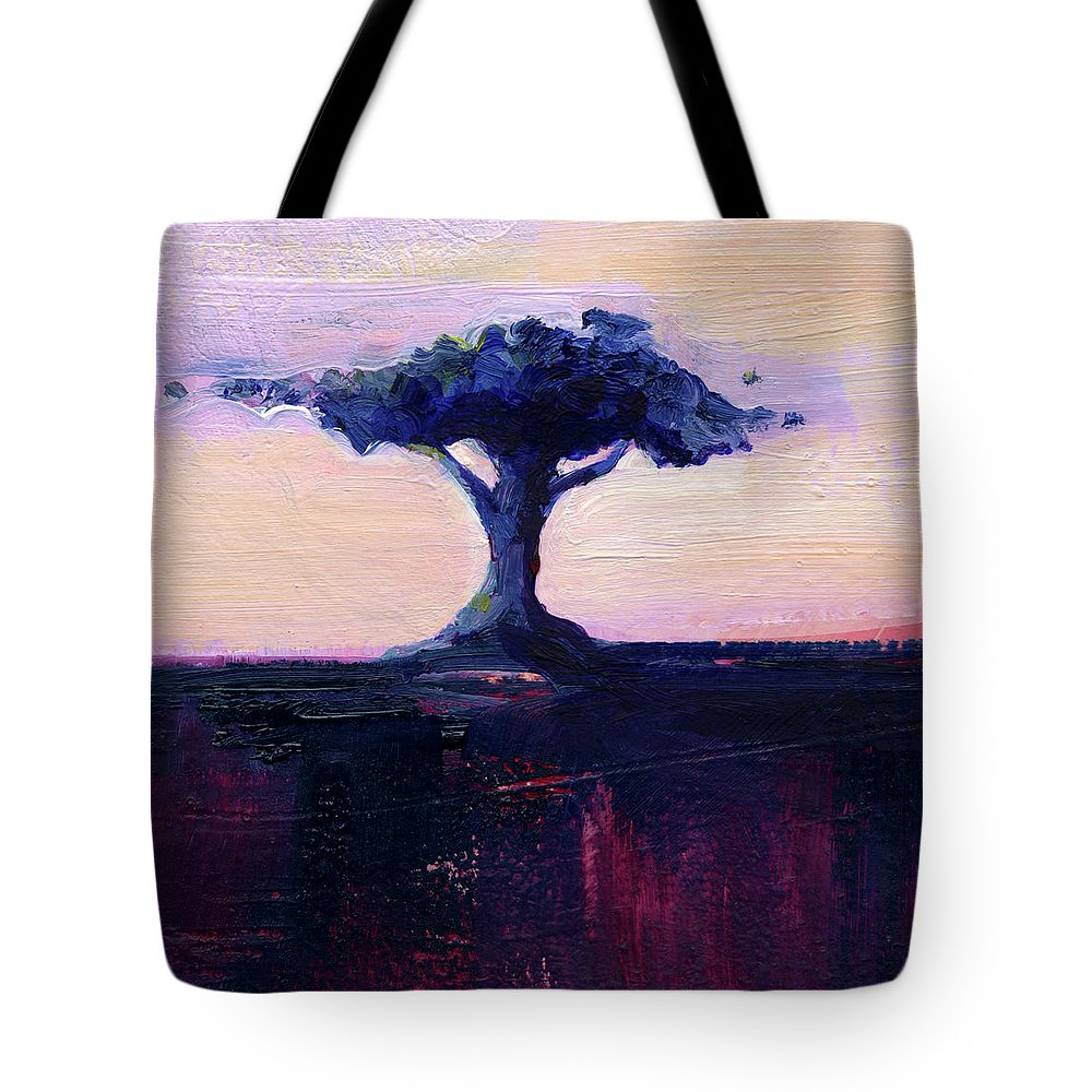 Abstract Tote Bag featuring the painting Lone Tree No. 18 by Kathy Morton Stanion