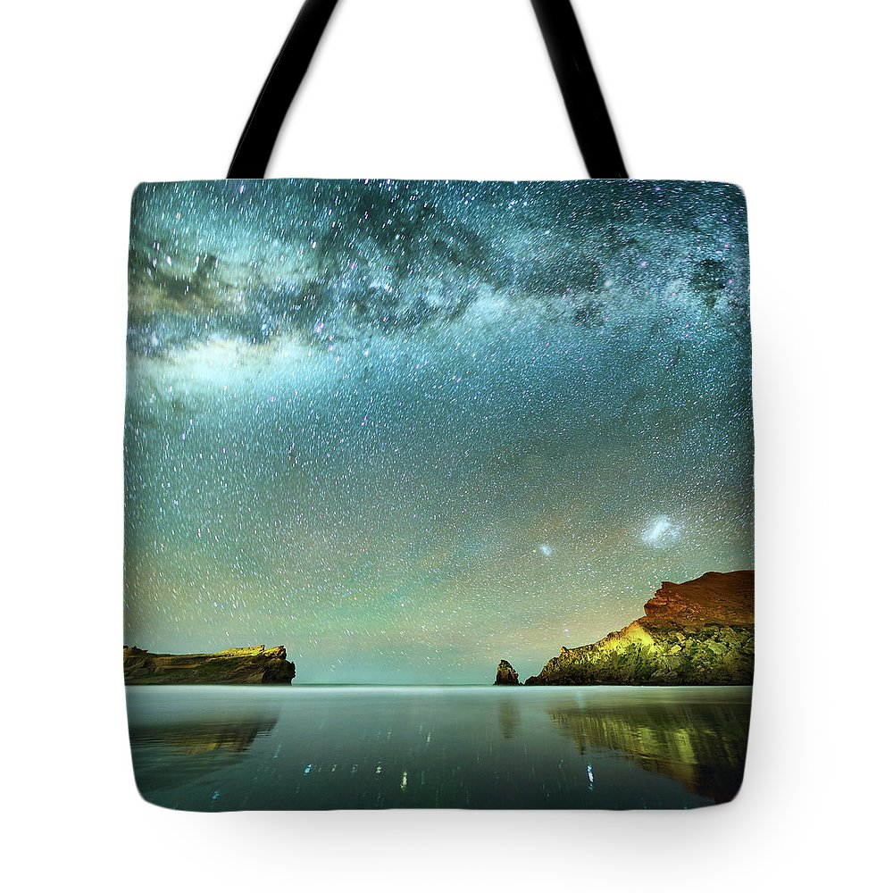Galaxy Tote Bag featuring the photograph Long Exposure Of Stars by Piskunov