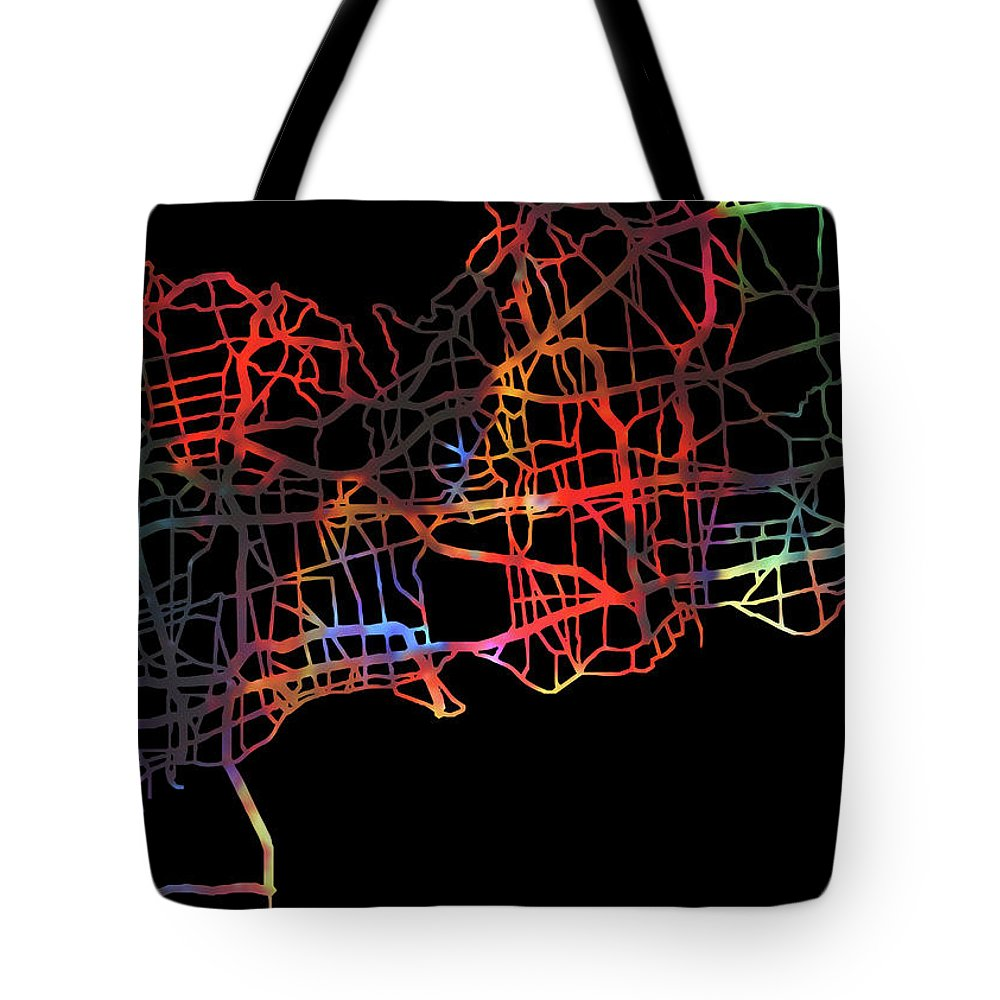 Long Island Tote Bag featuring the mixed media Long Island New York Watercolor City Street Map Dark Mode by Design Turnpike
