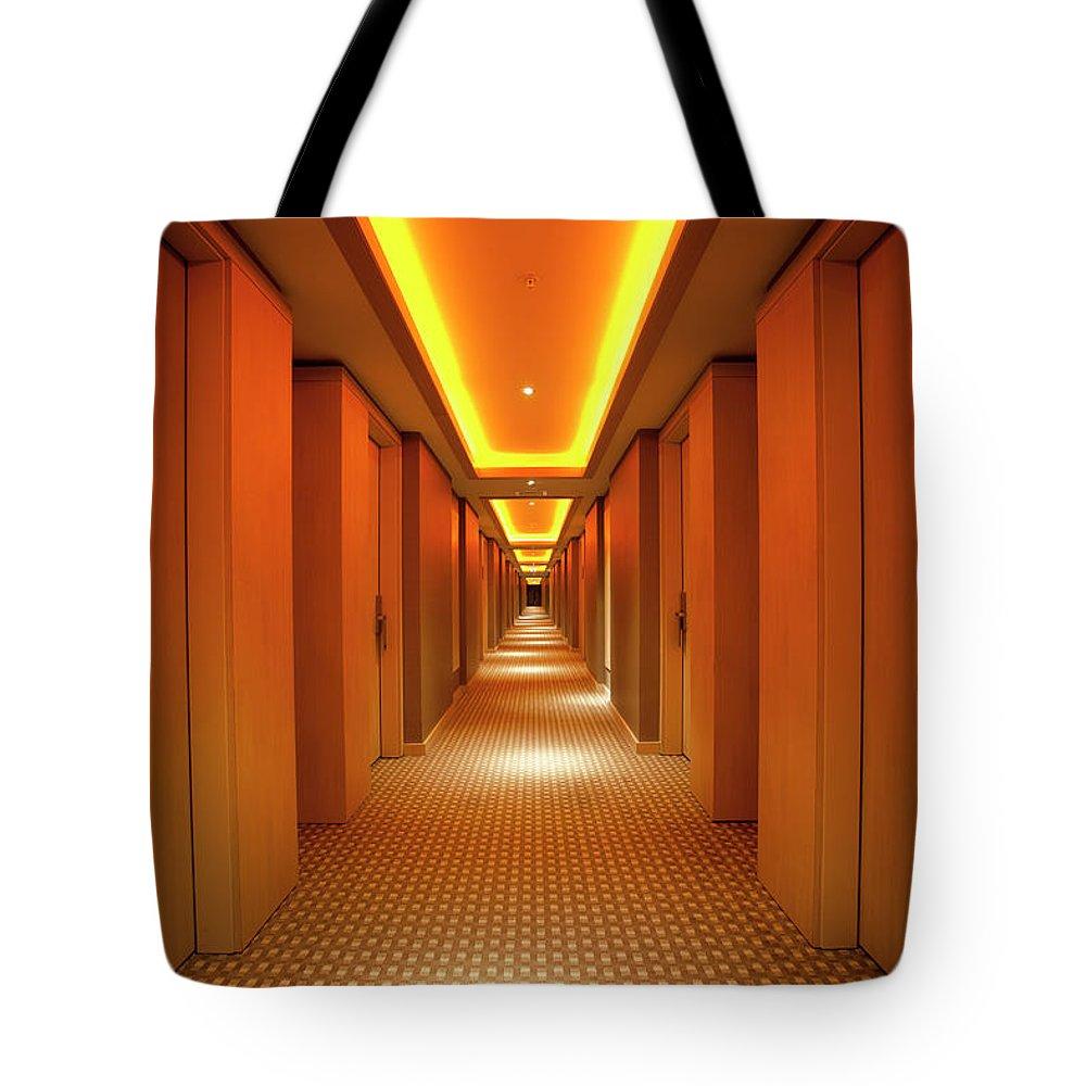 Long Tote Bag featuring the photograph Long, Narrow Corridor With Retro Themed by Dogayusufdokdok