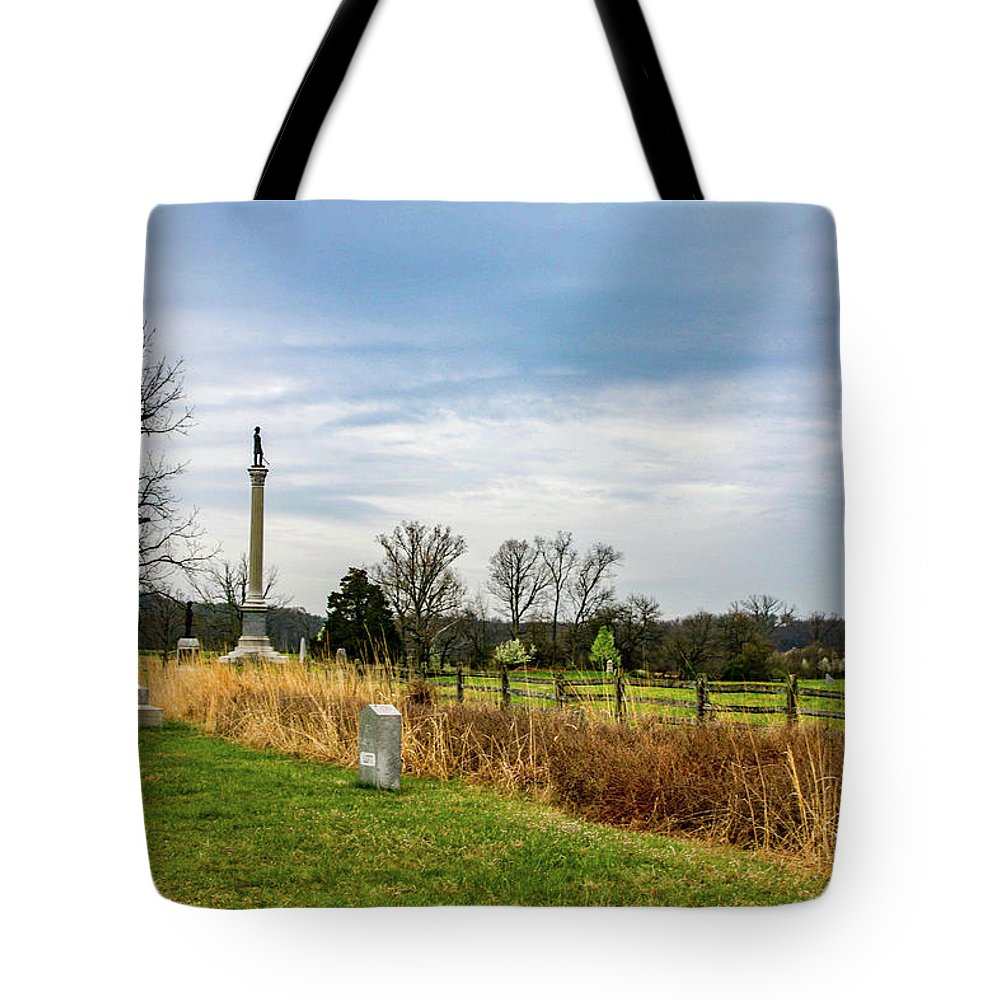 This Is A Photo Standing Near The Union Line In Front Of The Copse Of Trees Tote Bag featuring the photograph Looking Down The Union Line by William Rogers