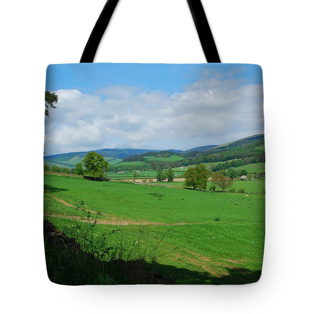 Innerleithen Tote Bag featuring the photograph looking westwards in Tweed valley by Victor Lord Denovan