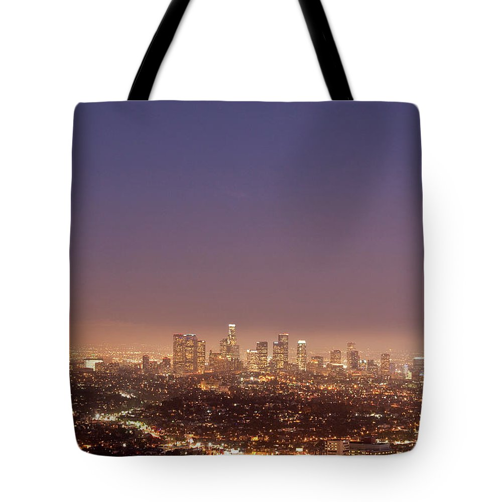 Scenics Tote Bag featuring the photograph Los Angeles Skyline At Twilight by Uschools