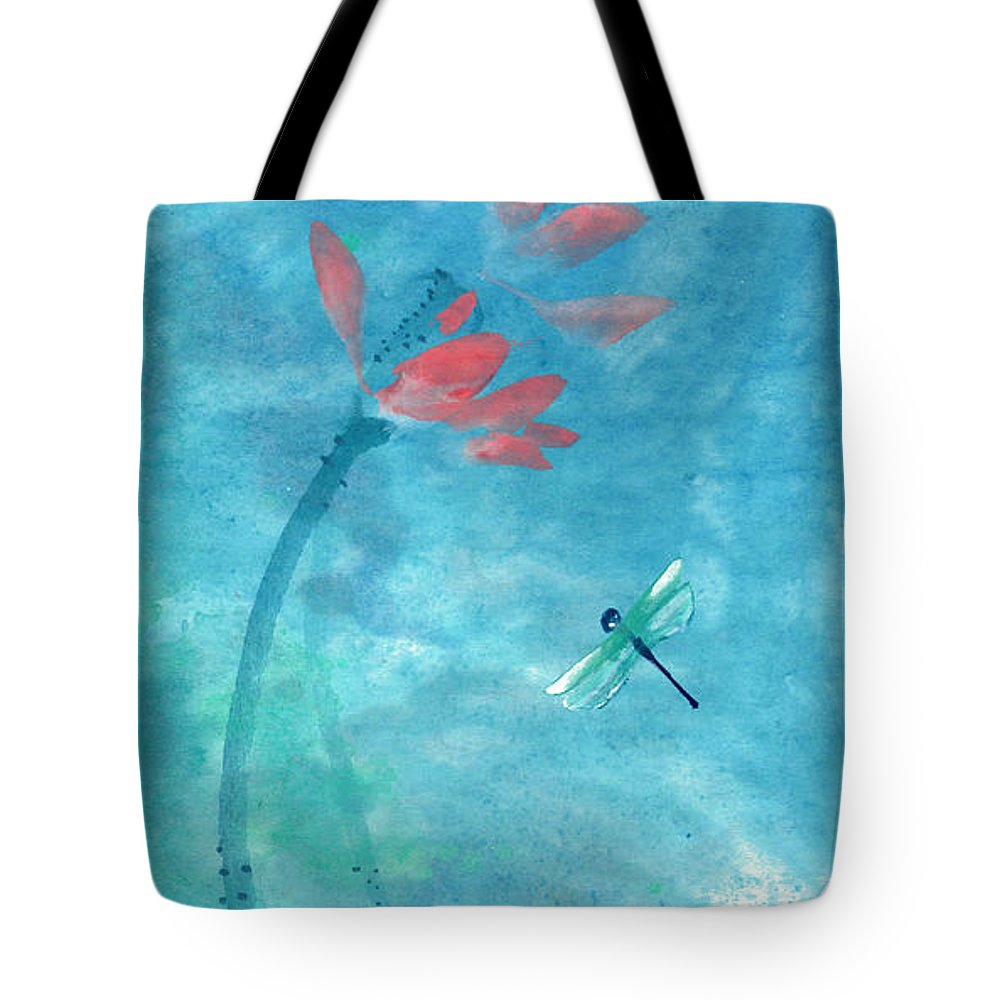 An Elegant Dragonfly Dotting Among Lotus Flowers On A Breezy Pond. The Painting Is Done With Watercolor On Rice Paper By Mui-joo Wee In Simple Contemporary Brush Strokes Tote Bag featuring the painting Lotus and dragonfly by Mui-Joo Wee