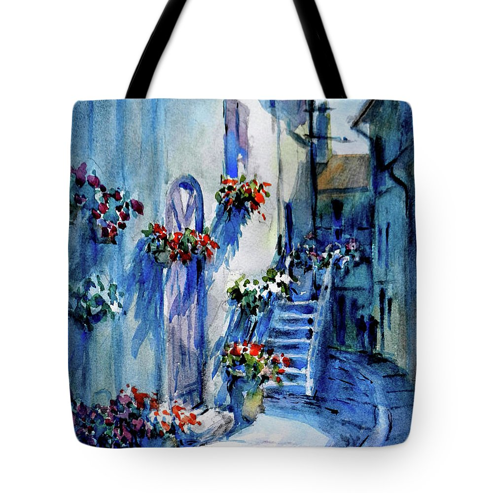 Landscape Tote Bag featuring the painting Lourmarin Walk					 by Virgil Carter
