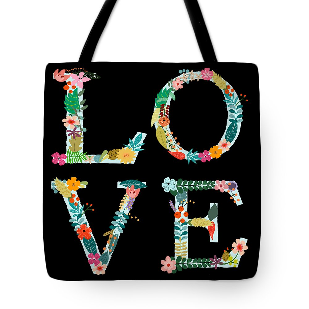 Romantic Tote Bag featuring the digital art L.o.v.e by Amanda Lakey