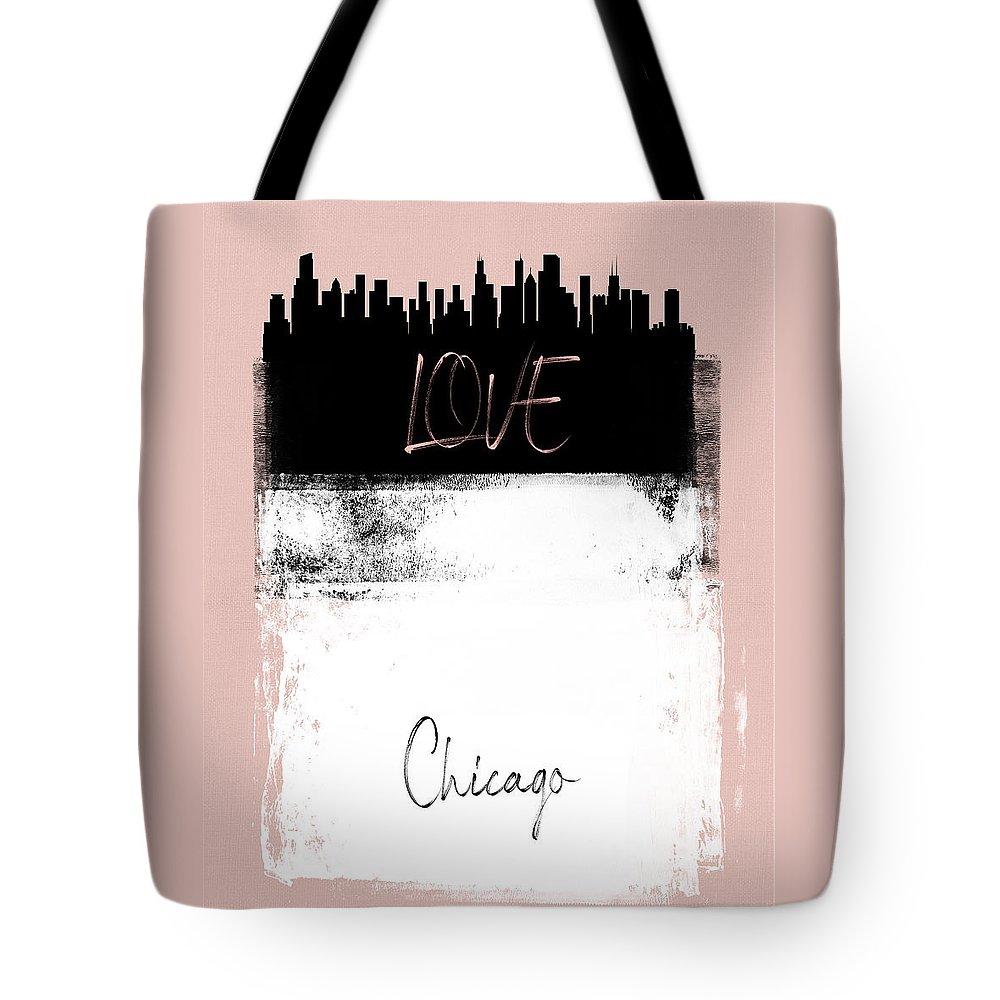 Chicago Tote Bag featuring the mixed media Love Chicago by Naxart Studio