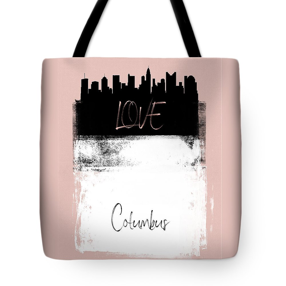 Columbus Tote Bag featuring the mixed media Love Columbus by Naxart Studio