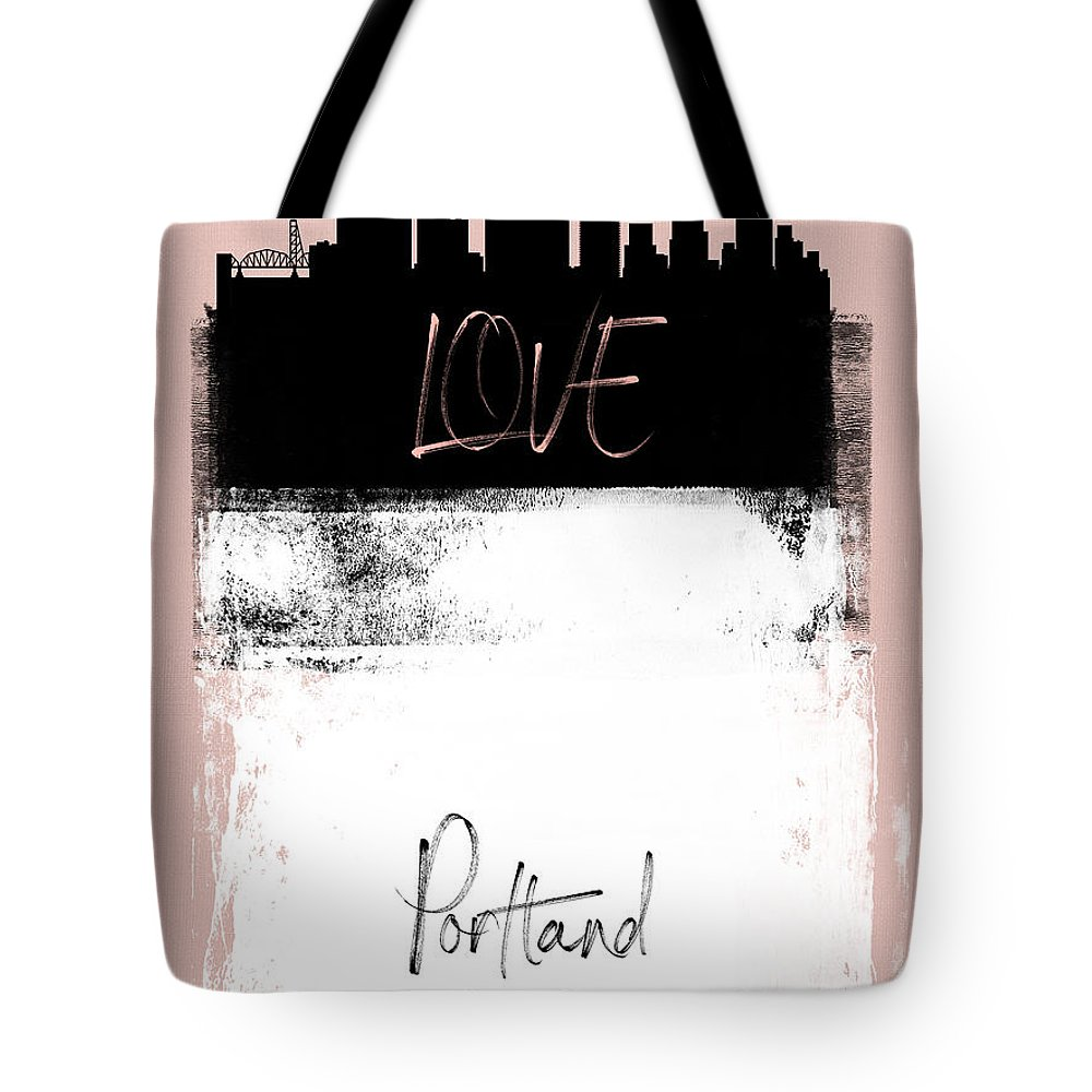Portland Tote Bag featuring the mixed media Love Portland by Naxart Studio