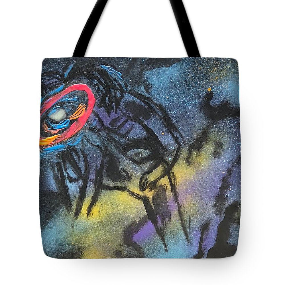 Love Tote Bag featuring the mixed media Love thru the stars by Sonye Locksmith