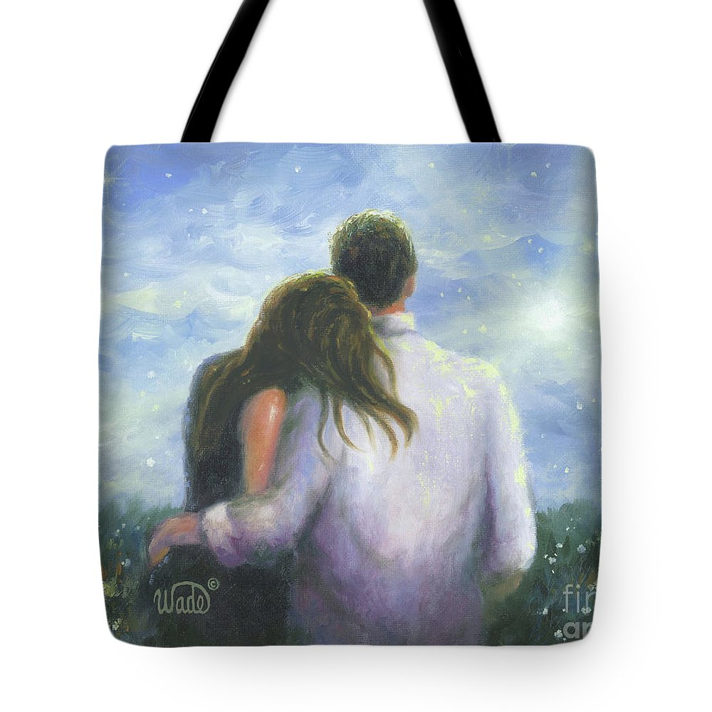 Lovers Hugging Tote Bag featuring the painting Lovers Looking Forward Brunettes by Vickie Wade