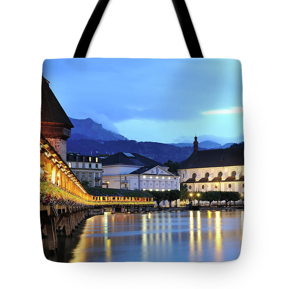 Built Structure Tote Bag featuring the photograph Lucerne At Dusk by Aimintang