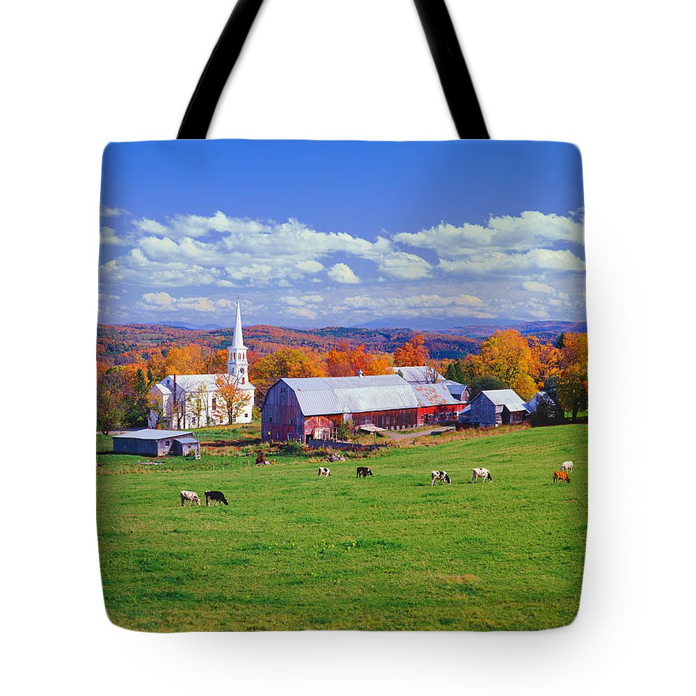 Scenics Tote Bag featuring the photograph Lush Autumn Countryside In Vermont With by Ron thomas