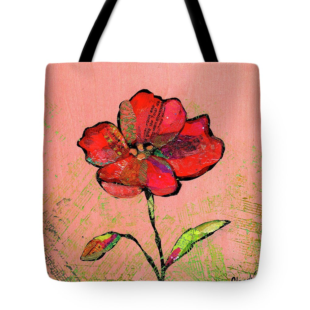 Red Tote Bag featuring the painting Lyrical Poppy II by Shadia Derbyshire