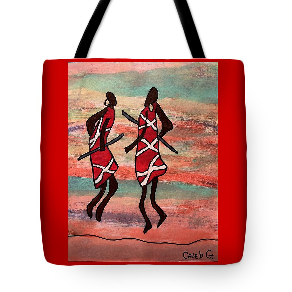 Whimsical Tote Bag featuring the painting Maasai Dancers by Caleb Griswold