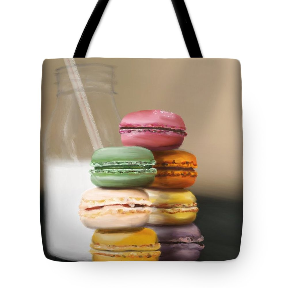 Macaroons Tote Bag featuring the pastel Macaroons by Fe Jones