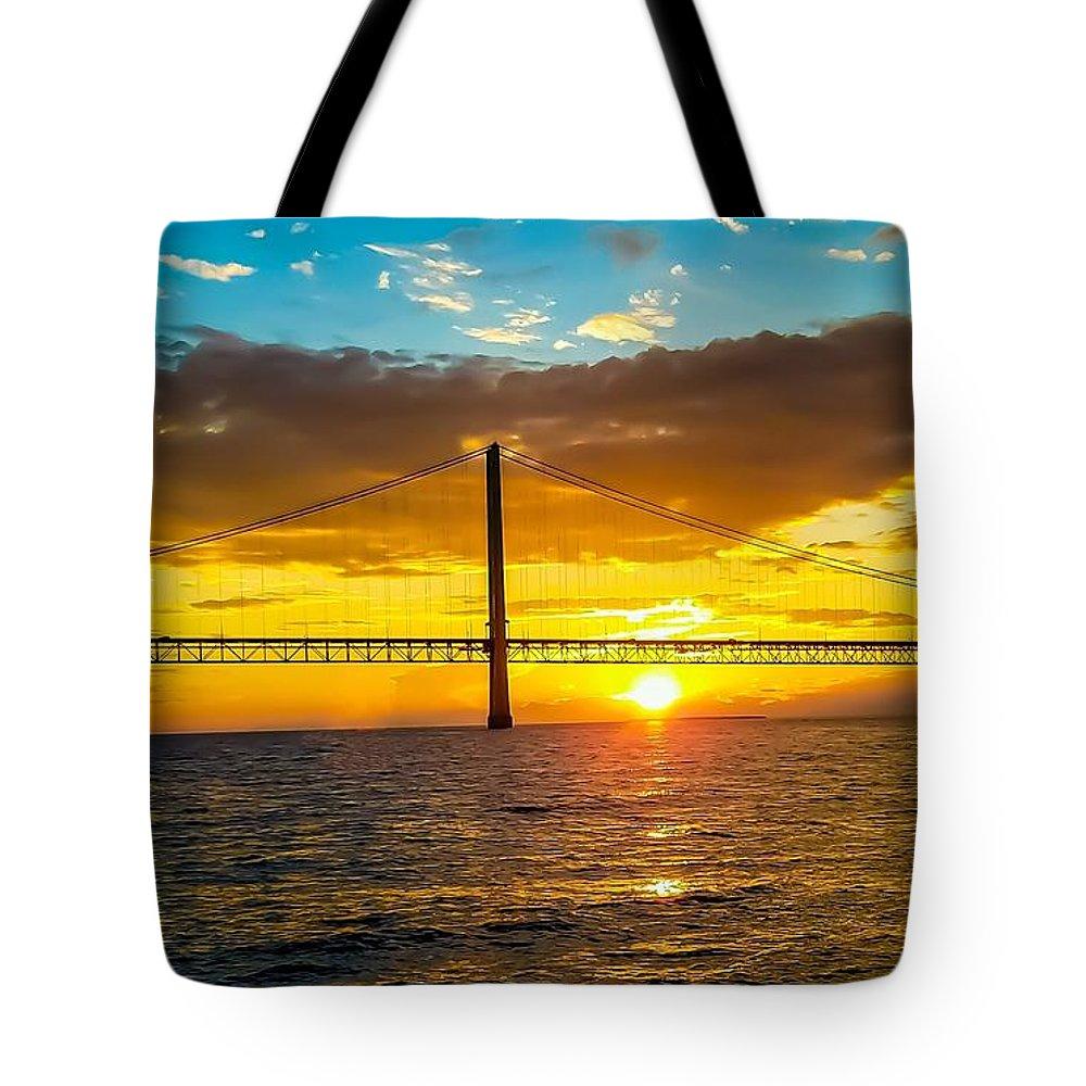 Bridge Tote Bag featuring the photograph Mackinac Bridge by Jennifer Loncz