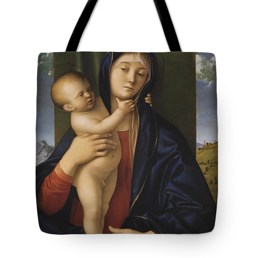 Giovanni Bellini Tote Bag featuring the painting Madonna With The Child by Giovanni Bellini