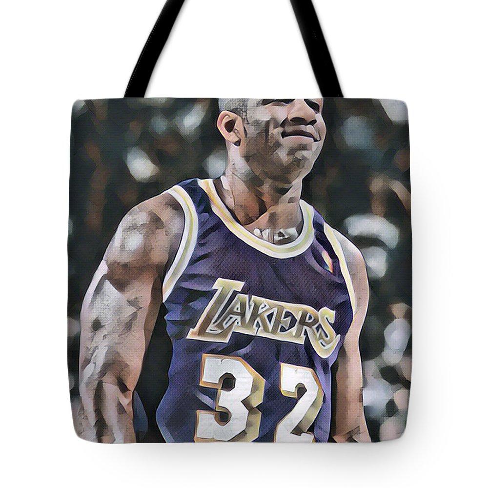 Magic Johnson Tote Bag featuring the mixed media Magic Johnson Los Angeles Lakers Abstract Art 2 by Joe Hamilton